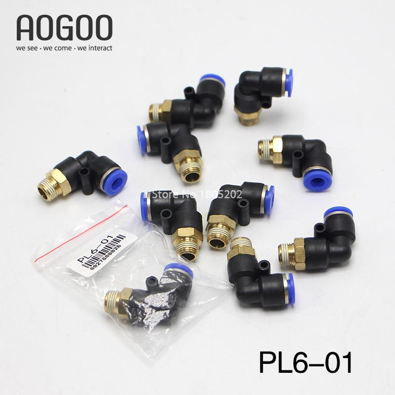 10Pcs/lot PL6-01 6mm To 1/8 BSPT Elbow Male Air Pneumatic Quick Connect jointer Connectors Fitting brass pneumatic pipe 1 4 bspt to 1 4 bspt male thread m m equal union hex nipple