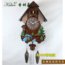 Colored drawing children room wall cuckoo clock , pine handmade wood sculpture photoswitchable alarm clock kinds gifts