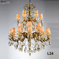 24 Arms Large Crystal Chandelier Light with Lampshade Classic Antique Brass Crystals Hanging Lamp for Hotel Villa Home Lighting