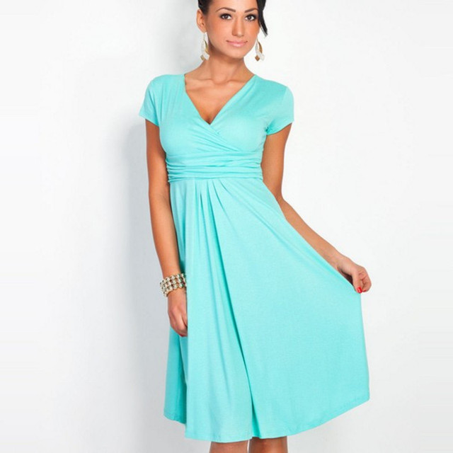 FASHION Women's Sexy V-Neck Dress Stretchy Tunic Short Sleeve Office OL Dresses Loose Hem Robe Femme Elastic Clothes S-XXL
