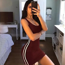Daddy Chen Casual Tank Dress Sexy Mini Bodycon Dresses with Side Stripes Summer Sheath Club U-Neck Sleeveless Solid Color Elbise