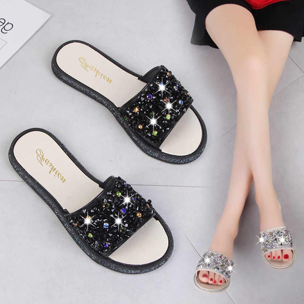 2e19ae9aea5b8 2018 Women Solid Color Crystal Round Toe Flat Heel Sandals Slipper Beach Shoes  chinelos de ver