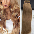 Full Shine Colour #14 Middle Blonde 9Pcs Thick Human Hair Extension  Clips in Good Qua;ity Brazilian Remy Hair Wholesale Cheap