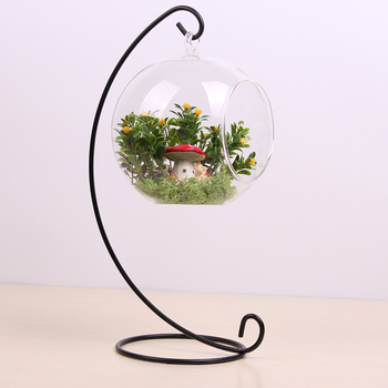 4pcs With 12cm Height Rack Holder Round Shape Hanging Glass Aquarium Fish Bowl Fish Tank Flower Plant Vase Home Decoration 1