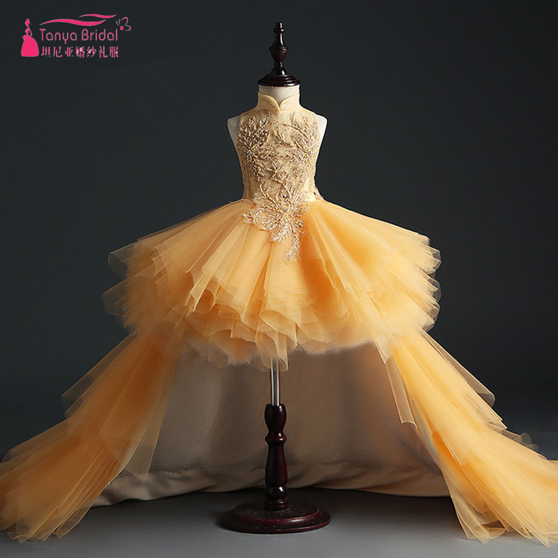 Gold Luxury Flower Girls Dress High Low Short Mini Dress with Detachable Train pageant dress for