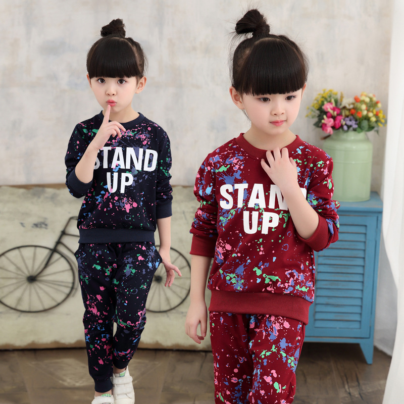 Girls Graffiti Letter Clothing long sleeve Sweater Sets Tracksuit For kids Girls autumn Spring set 4 5 6 7 8 9 10 11 12 years 45 kids girls tee cotton letter patterned long sleeve girls t shirt autumn fashion young children girls clothing 4 5 6 7 12 years