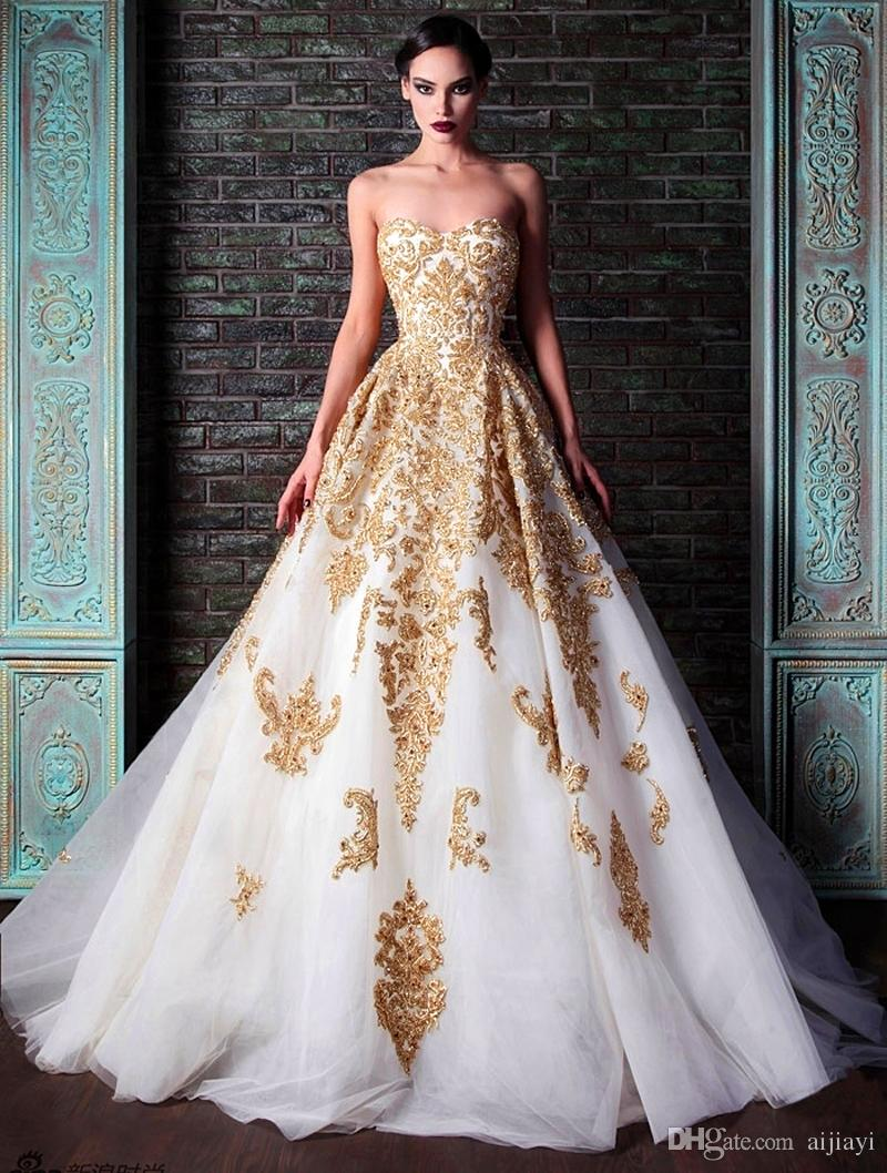 2015 New Evening Dresses Sweetheart Golden Appliques Beaded Crystal ...