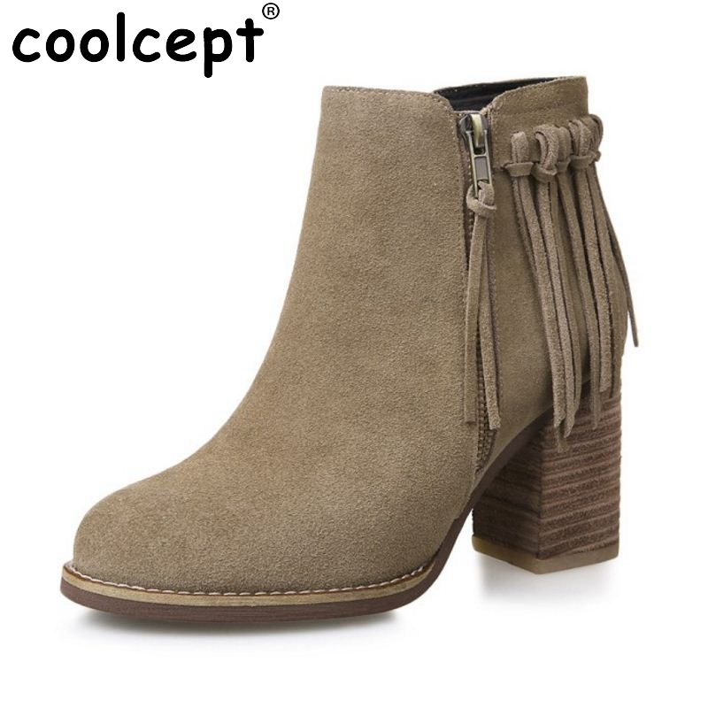 Coolcept Real Leather Fringed Short Boots For Woman Fashion Zipper Tassel Ankle Shoes Female Wear High-Heeled Boots Size 33-43 morazora fashion punk shoes woman tassel flock zipper thin heels shoes ankle boots for women large size boots 34 43