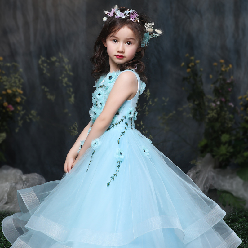 Mommy And Me Mother Daughter Wedding Dress Clothes Baby Maxi Dresses Family Princess Party Clothing Mom Blue In Matching Outfits