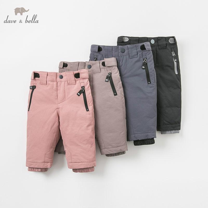 DB8944 dave bella autumn baby unisex fashion pants children full length kids pants infant toddler down
