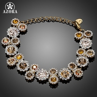 18K Gold Plated 23pcs Multicolour Round Austrian Crystal End To End Flower Bracelet FREE SHIPPING Azora