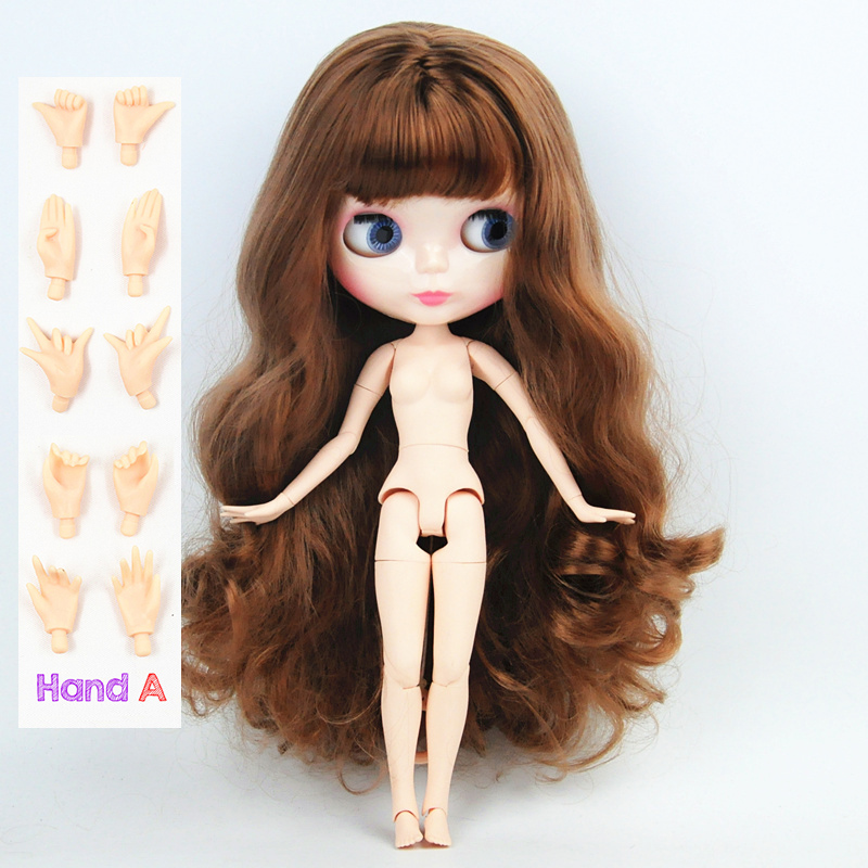 New Blyth Doll brown long hair big breast joints Nude Doll Joint Body DIY Nude BJD toys Fashion Dolls 19 Joints toy for Girl free shipping blyth doll nude dolls colorful bangs hairy multi joint body 19 joint joints can be rotated to send hand group