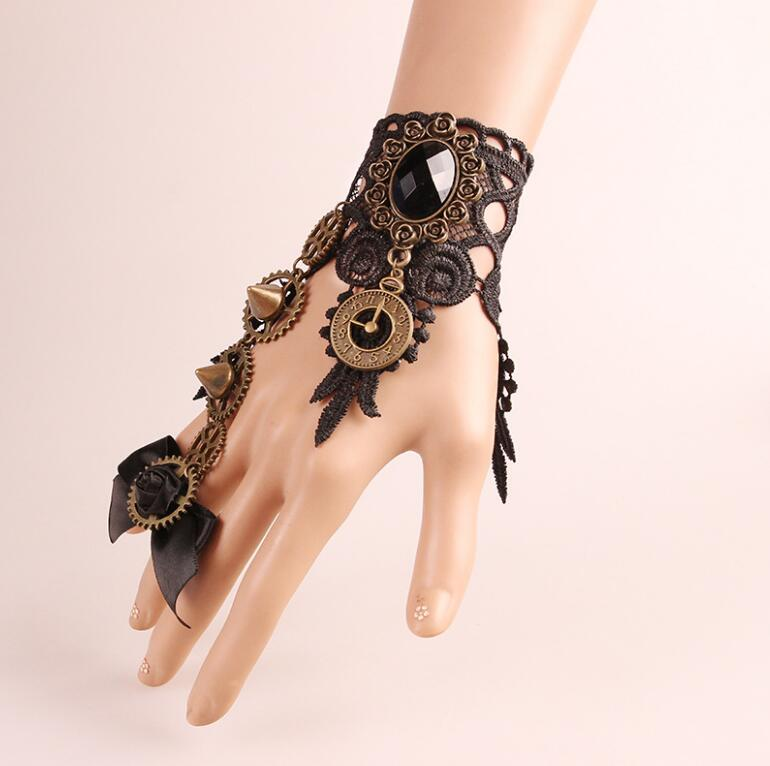 Fashion Women Girls Female Gothic Lolita Retro Steampunk Gear Lace Slave Bracelet Wristband with Ring Costumes Party Supplies
