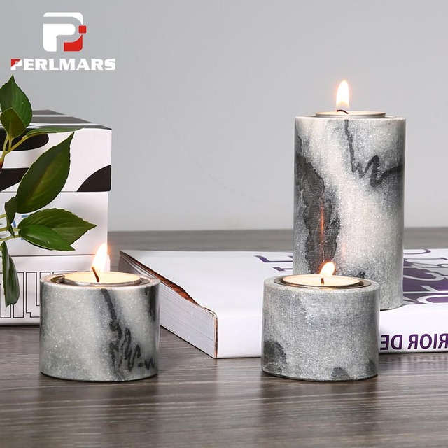 nordic dining table glass natural marble candle holder modern nordic dining table candelabra decoration romantic wedding candlestick home ornaments crafts