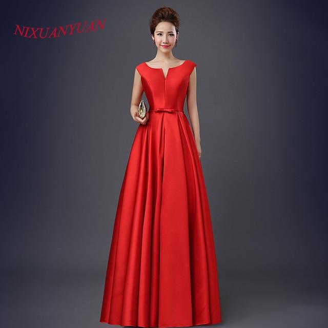 Largo elegante Vestidos de baile rojo vestidos de fiesta de satén ...
