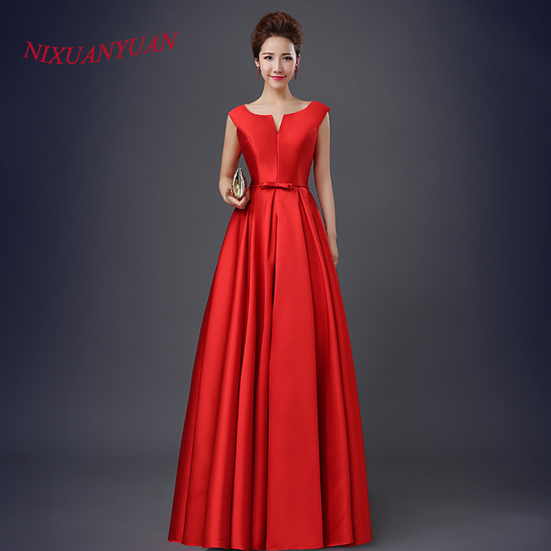 Long Elegant Prom Dresses Red Vestidos De Fiesta Satin Evening Gowns Simple Wedding Party Dress