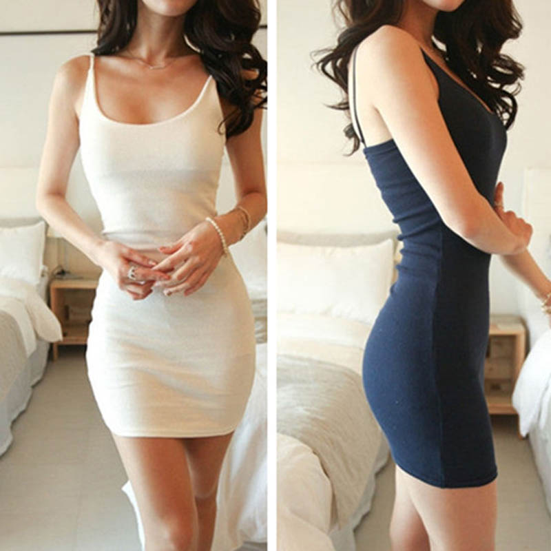 Fashion Women Sexy Backless Basic Dresses Sleeveless Slim Vestidos Vest Tanks Bodycon Dress Strap Solid Party Dress KH657420