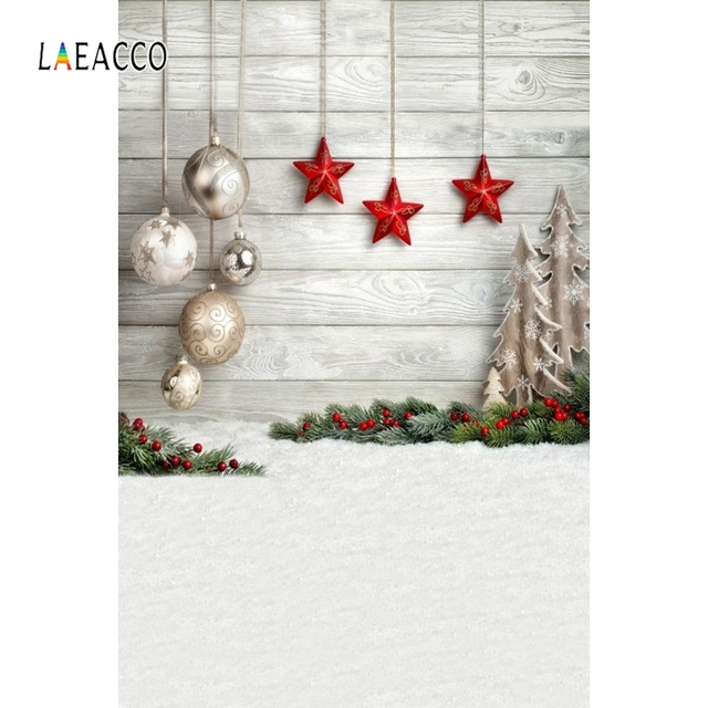 Laeacco Christmas Balls Stars Snow Ground Wooden Wall Photography Backgrounds Customized Photographic Backdrops For Photo Studio