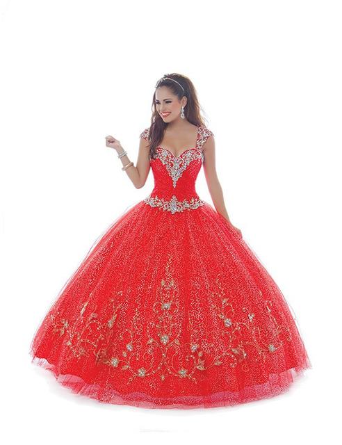 Elegante lantejoula Tulle vestidos vestido longo vestido de baile vermelho Quinceanera Dresses 2015 especial ocasião vestidos