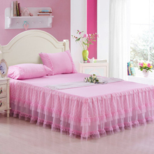 Reactive printing FLOWER bed linen COTTON skirt full TWIN queen king size Princess lace skirts bedspreads mattress cover