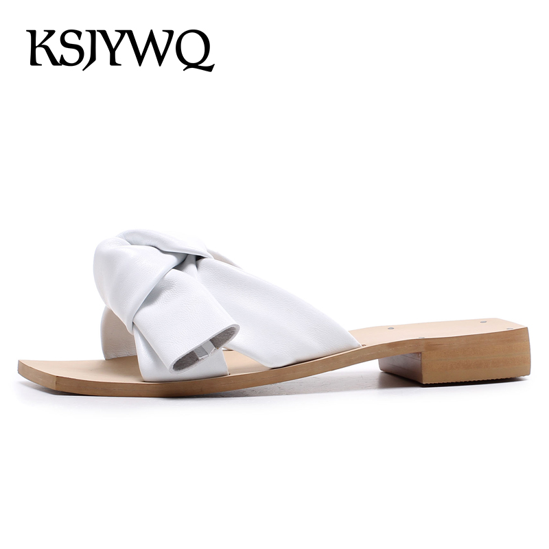 KSJYWQ Sexy Open-toe Women Mules Genuine Leather Summer Slippers 2 CM Low Heels White Pumps Woman Dress Shoes Box packing D356 ksjywq genuine leather flowers women sandals sexy exposed toe white shoes summer style clip toe shoes woman box packing a2571