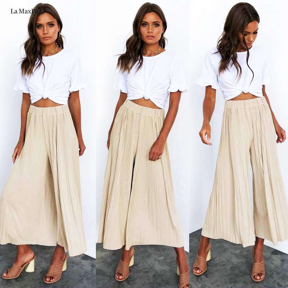 2019 New arrive Spring Summer   Wide     Leg     Pants   Women High Waist Plaid Striped Loose Palazzo beach Elegant Office Ladies Trousers