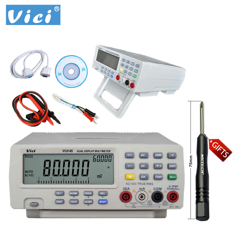 VICI Digital Multimeter VC8145 Bench Top Voltmeter PC DMM 80000 Digit Cap B0255 areyourshop bnc female plug jack to rca female plug jack adapter connector coupler for cctv 100pcs