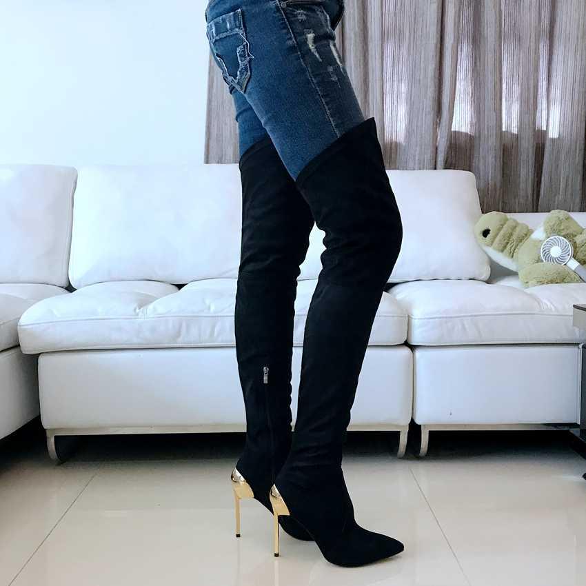 11 cm Over de Knie Stretch Dij Laarzen Vrouw Hoge Hak Laarzen Zwarte Vrouwen Herfst Winter Laarzen Faux Suede Hoge Hakken bota Feminina