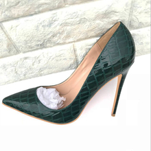 2019 Fashion free shipping green Patent Leather python Poined Toe Stiletto high heel shoe pump HIGH-HEELED SHOES dress shoes