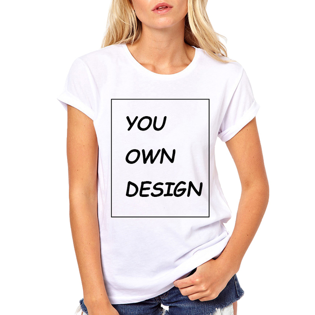 ec2494f3d Picture processing High Quality Customized Women tshirt Print Your Own  Design / LOGO / QR code/photo Casual t shirts