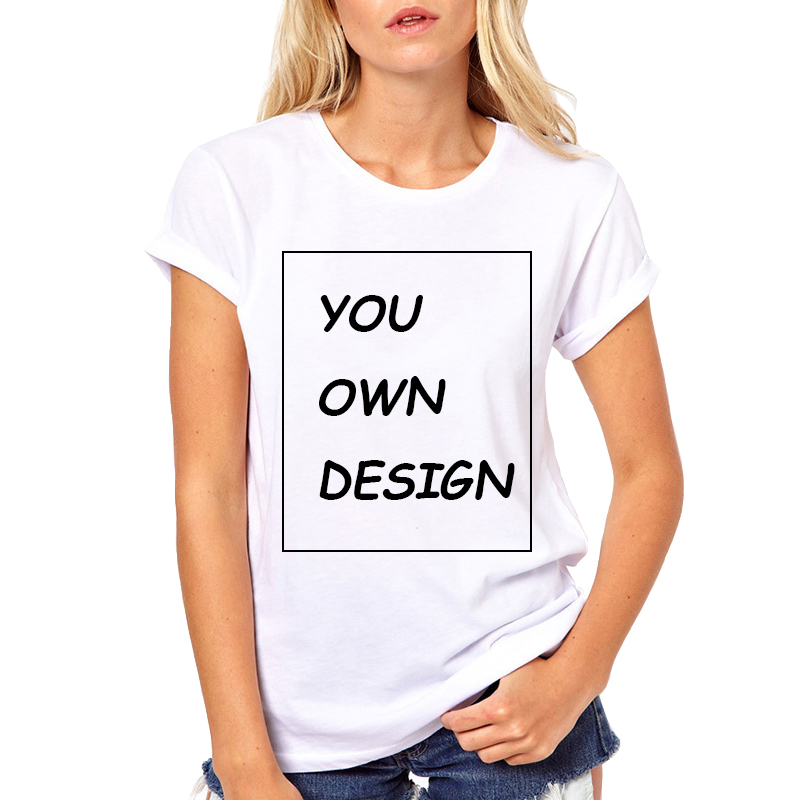Picture processing High Quality Customized Women tshirt Print Your Own Design / LOGO / QR code/photo Casual t shirts