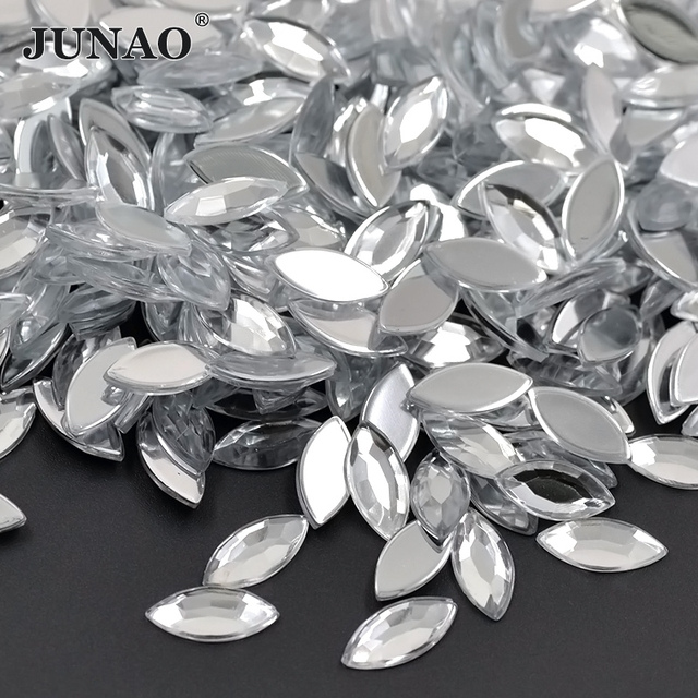 JUNAO 7 15mm Clear White Acrylic Flatback Rhinestones Glue On Horse Eye  Crystals Stones Non Sewing Beads For DIY Clothes Crafts 6919c64fce75