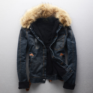 Black Denim Jeans Jacket With Fur Coat Washed Vintage Men