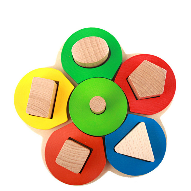 Free shipping Children's early education flower shape column caterpillar colour wooden block Kids educational initiation toy