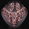 Fashion Floral Indian Crystal  Bridal Jewelry Sets Gold Plated Statement Necklace Earring Sets Women Prom or Wedding Dresses