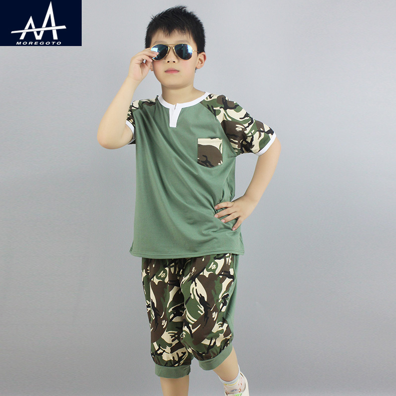 Summer Child Boys 2PCS Clothing Sets Fat Boy 11Y Casual Homewear Clothing Camouflage t shirt+Shorts Suits Jogging Sets for Boys