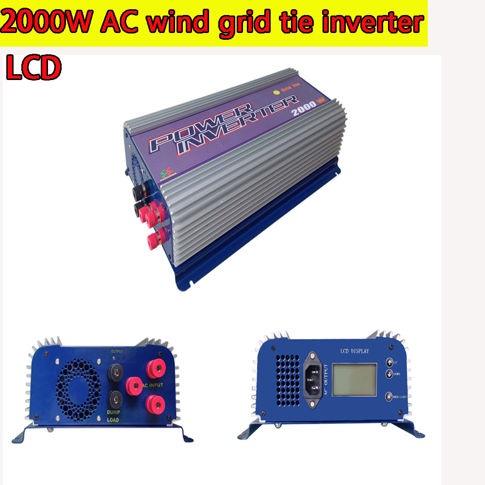 2000W Grid Tie Inverter with Dump Load for 3 Phase AC Wind Turbine Grid Tie Inverter 45-90V Input LCD MPPT Pure Sine Wave NEW solar power on grid tie mini 300w inverter with mppt funciton dc 10 8 30v input to ac output no extra shipping fee