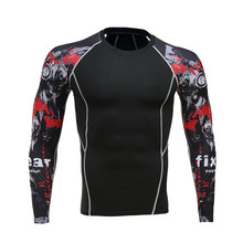 2016 Mens MMA Fitness T Shirts Fashion 3D Teen Wolf Long Sleeve Palace Compression Shirt Bodybuilding