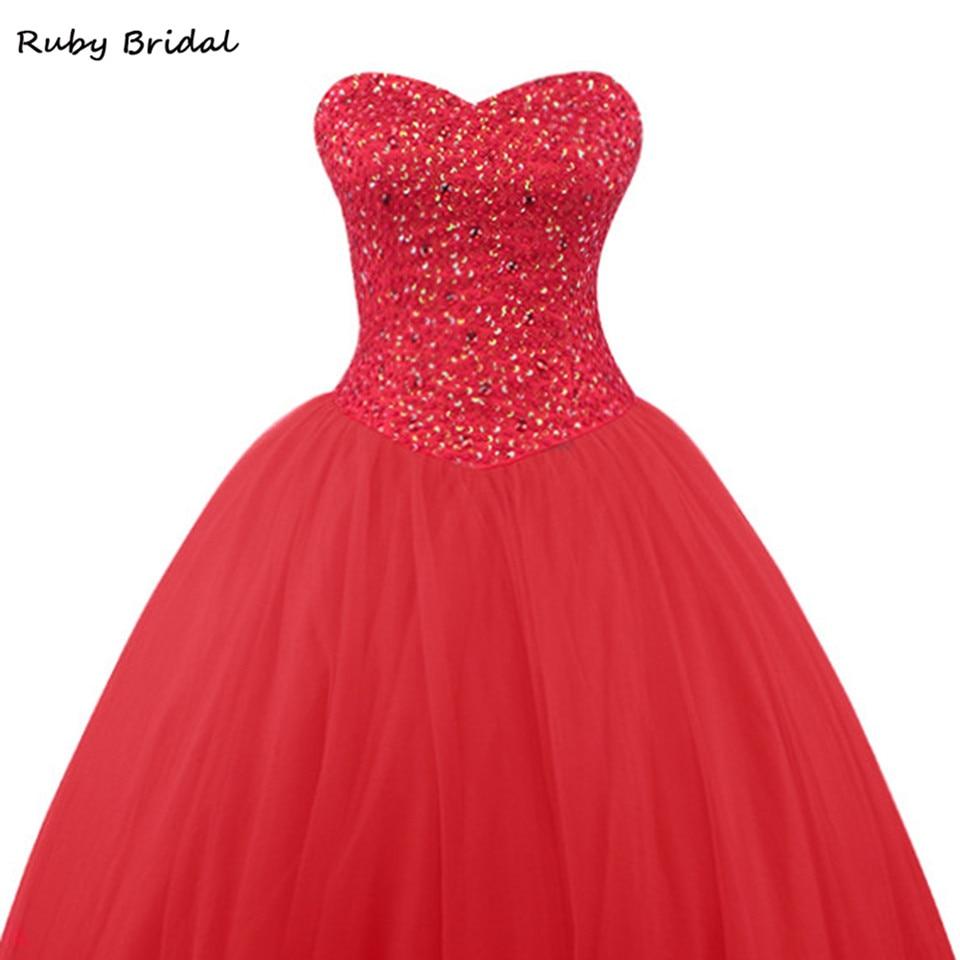 Robe De mariée rubis De Fiesta rouge Tulle robe De bal perlée robes De bal De luxe longue sans bretelles robe De bal De promo LP045 - 3