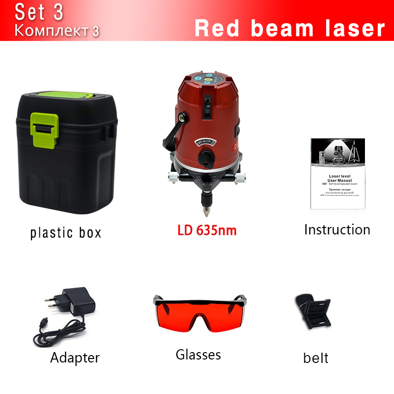 CLUBIONA зеленый и красный луч линии 360 градусов Поворотный наружный режим-приемник и наклон slash доступен автоматический линейный лазерный уровень - Цвет: 05RCN-RR