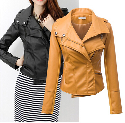 New Fashion Women Motorcycle PU Leather Jackets Female Winter Autumn Short  Epaulet Zippers Coat Hot Yellow Outwear Free Shipping-in Leather   Suede  from ... fc1464242