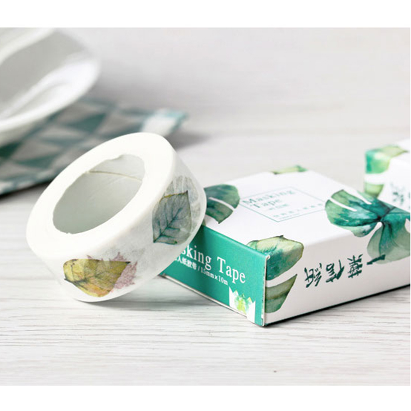 3 Pcs Size 15 Mm*10m Diy Leaf Floral Cat Japanese Paper Washi Tapes/masking Tape/decorative Adhesive Tapes/school Supplies