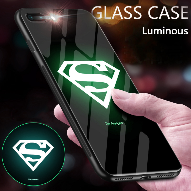 Superman Batman Luminous Glass Case For iPhone 6 7 8 Plus Avengers iron Man Back Cover For iPhone XS MAX XR X Venom Phone Case in Fitted Cases from Cellphones Telecommunications