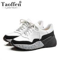 TAOFFEN Women Sneakers Real Leather Vulcanized Shoes Women Spring Young Lady Jogging Fitness Trainers Wedges Sneaker Size 35 39