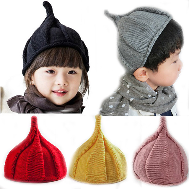 890ba69d714233 Cute Winter Hat For Kids Soft Warm Knitted Thicken Caps Beanie Boys Girls  Pointy Windmill Solid Color Winter Autumn Hats