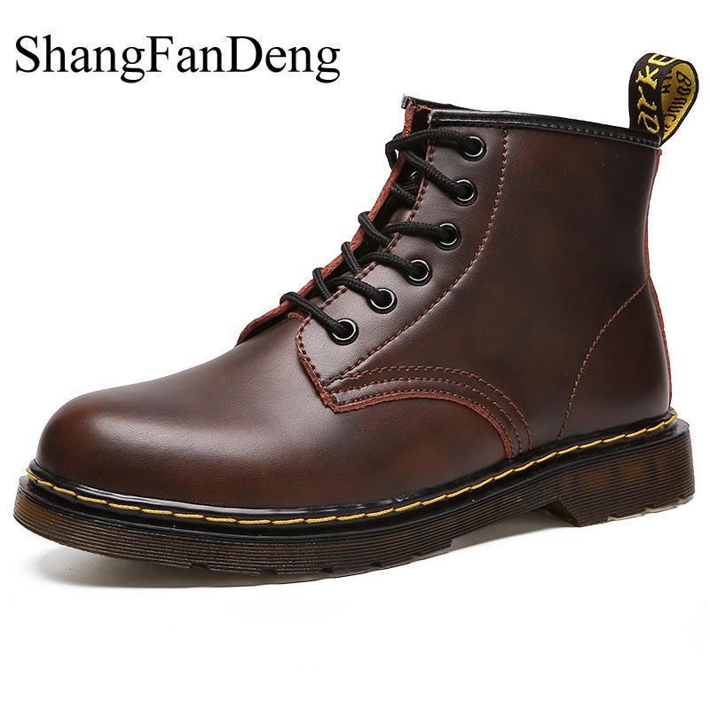 Men Boots Winter Warm Leather Martens Shoes Men Waterproof Lace-Up Plush Casual Shoes High Quality Ankle Botas Hombre Non-Slip