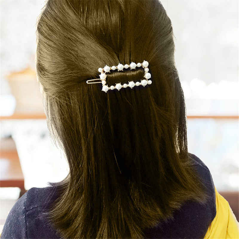 Fashion Buatan Tangan Warna Emas Pearl Imitasi Rambut Klip Snap Baret Tongkat Jepit Rambut Rambut Styling Aksesoris untuk Wanita Wanita
