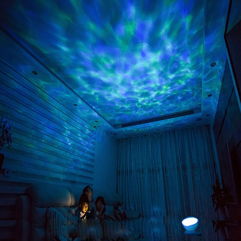 цена на Romantic Colorful Ocean Wave Sky Aurora Projector LED Starry Night Light Lamp With Music Player for Living Room and Bedroom