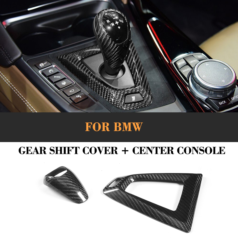 Carbon Fiber Shift Knob And Panel Frame Cover Trim For BMW LHD Only 7 Series 09-16 2-6 Series X5 X6 F80 M3 F82 F83 M4 14-17 3 series carbon fiber rear lip spoiler diffuser for bmw f34 gt m sport 4 door only 14 17 single exhaust two out grey frp