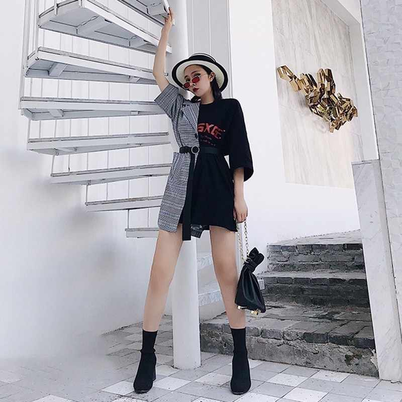TWOTWINSTYLE лоскутное мини-платье женское клетчатое с буквенным поясом с высокой талией асимметричные платья 2018 летняя модная сексуальная одежда